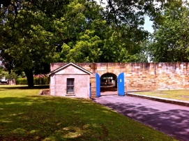 """The small building to the left of the big blue doors was the """"dead house"""" at the Parramatta Female Factory. Photo: Michaela Ann Cameron (2014)"""