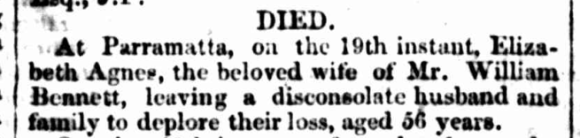 """FAMILY NOTICES,"" Sydney Morning Herald (NSW: 1842 - 1954) Wednesday 20 October 1847, p.3"