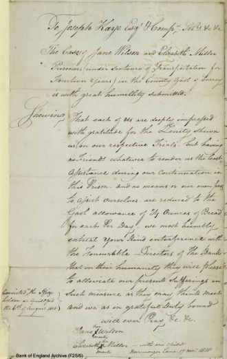 'Petition of Jane Wilson & Eliz.th Miller, in Horsem. Gaol, for relief,' 17 November 1818, Freshfields Papers: Prison Correspondence 1818–1820 (London: Bank of England, 1818), p.126