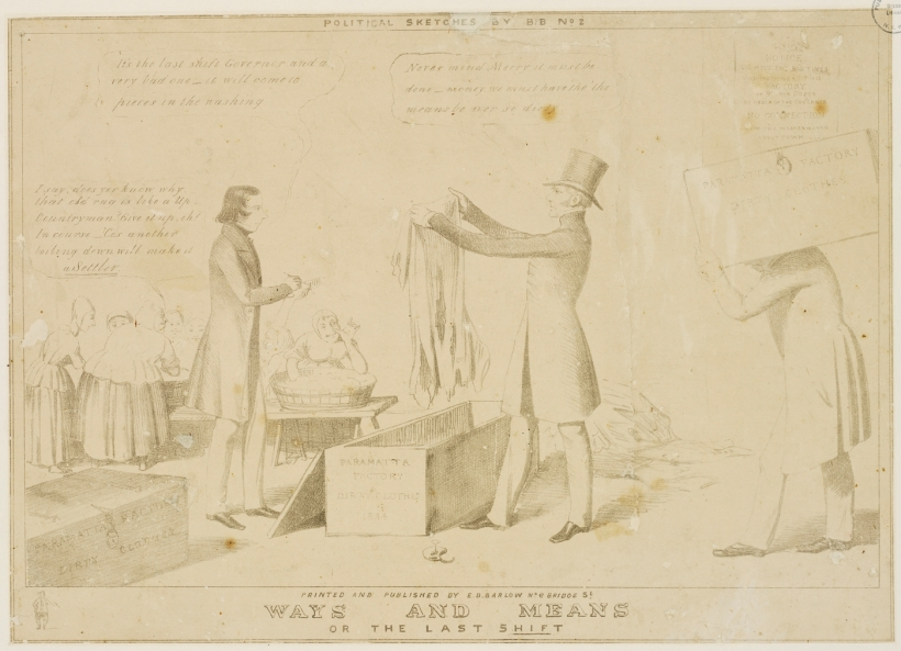 "Parramatta Female Factory, c1844, Edward Winstanley, ""Ways and Means or the Last Shift."" Convict women. Laundry."