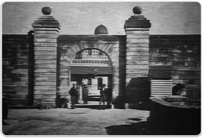 Entrance to Female Factory, Parramatta, showing stone bridge