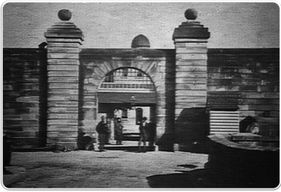 Entrance to Female Factory, Parramatta, showing stone bridge