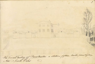Charles Harry Roberts, The Female Factory at Parramatta, a station fifteen miles from Sydney, New South Wales, c. 1823. Courtesy of National Library of Australia, nla.obj-139327410-1.