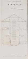 """Alexander Maconochie (1787–1860), """"Transverse Section through a Range of Cells Erected at the Female Factory, Parramatta"""" abstract of Alexander Maconochie, Range of solitary cells erected at the Female Factory at Parramatta: accompanying plans and estimates of buildings proposed by Captn. Maconochie, R.N. / [drafted with corrections by] H.H. Lugard, Lt. R.E.; [originally designed by Francis Greenway], ([London]: James & Luke J., Hansard Printers; Ordered by the House of Commons to be printed 15 June, 1841). Courtesy of National Library of Australia, MAP RM 4336, nla.obj-232459237."""