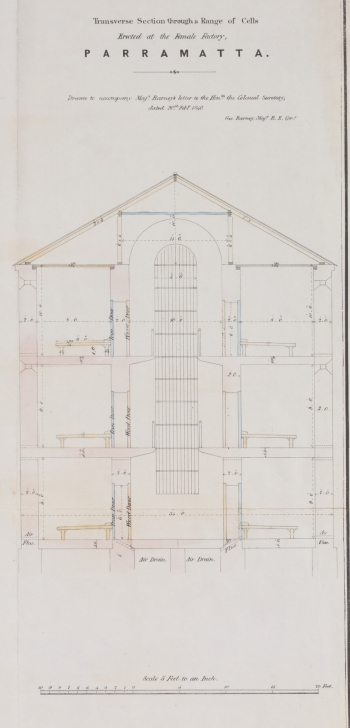 "Alexander Maconochie (1787–1860), ""Transverse Section through a Range of Cells Erected at the Female Factory, Parramatta"" abstract of Alexander Maconochie, Range of solitary cells erected at the Female Factory at Parramatta: accompanying plans and estimates of buildings proposed by Captn. Maconochie, R.N. / [drafted with corrections by] H.H. Lugard, Lt. R.E.; [originally designed by Francis Greenway], ([London]: James & Luke J., Hansard Printers; Ordered by the House of Commons to be printed 15 June, 1841). Courtesy of National Library of Australia, MAP RM 4336, nla.obj-232459237."