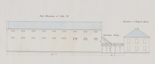 "Alexander Maconochie (1787–1860), ""Side Elevation of Cells, Elevation of Keeper's House,"" abstract of Alexander Maconochie, Range of solitary cells erected at the Female Factory at Parramatta: accompanying plans and estimates of buildings proposed by Captn. Maconochie, R.N. / [drafted with corrections by] H.H. Lugard, Lt. R.E.; [originally designed by Francis Greenway], ([London]: James & Luke J., Hansard Printers; Ordered by the House of Commons to be printed 15 June, 1841). Courtesy of National Library of Australia, MAP RM 4336, nla.obj-232459237."