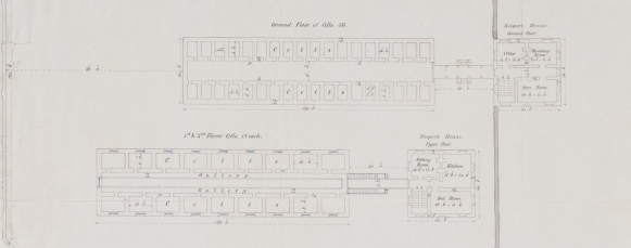 """Alexander Maconochie (1787–1860), Plan of """"Ground Floor of Cells, 1st & 2nd Floor Cells, Keeper's House,"""" abstract of Alexander Maconochie, Range of solitary cells erected at the Female Factory at Parramatta: accompanying plans and estimates of buildings proposed by Captn. Maconochie, R.N. / [drafted with corrections by] H.H. Lugard, Lt. R.E.; [originally designed by Francis Greenway], ([London]: James & Luke J., Hansard Printers; Ordered by the House of Commons to be printed 15 June, 1841). Courtesy of National Library of Australia, MAP RM 4336, nla.obj-232459237."""