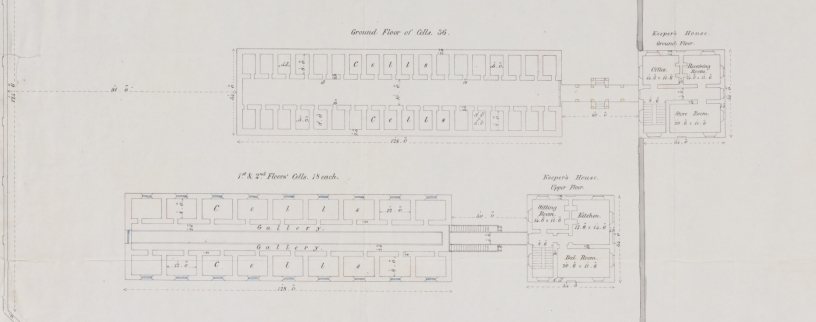 "Alexander Maconochie (1787–1860), Plan of ""Ground Floor of Cells, 1st & 2nd Floor Cells, Keeper's House,"" abstract of Alexander Maconochie, Range of solitary cells erected at the Female Factory at Parramatta: accompanying plans and estimates of buildings proposed by Captn. Maconochie, R.N. / [drafted with corrections by] H.H. Lugard, Lt. R.E.; [originally designed by Francis Greenway], ([London]: James & Luke J., Hansard Printers; Ordered by the House of Commons to be printed 15 June, 1841). Courtesy of National Library of Australia, MAP RM 4336, nla.obj-232459237."