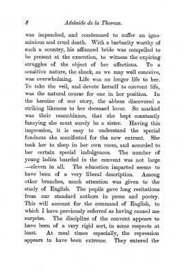 """Chapter I: Early Days,"" James Cameron's biography on Parramatta Female Factory convict Adelaide de la Thoreza, p. 8"