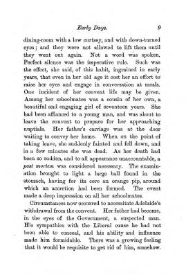 """Chapter I: Early Days,"" James Cameron's biography on Parramatta Female Factory convict Adelaide de la Thoreza, p. 9"