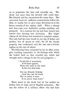 """Chapter I: Early Days,"" James Cameron's biography on Parramatta Female Factory convict Adelaide de la Thoreza, p. 15"