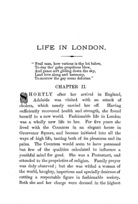 """Chapter II: Life in London,"" James Cameron's biography on Parramatta Female Factory convict Adelaide de la Thoreza, p. 17"