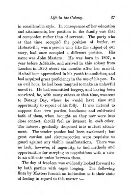 """Chapter III: Life in the Colony,"" James Cameron's biography on Parramatta Female Factory convict Adelaide de la Thoreza, p. 27"