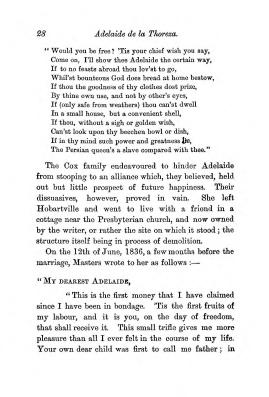 """Chapter III: Life in the Colony,"" James Cameron's biography on Parramatta Female Factory convict Adelaide de la Thoreza, p. 28"