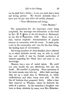 """Chapter III: Life in the Colony,"" James Cameron's biography on Parramatta Female Factory convict Adelaide de la Thoreza, p. 29"