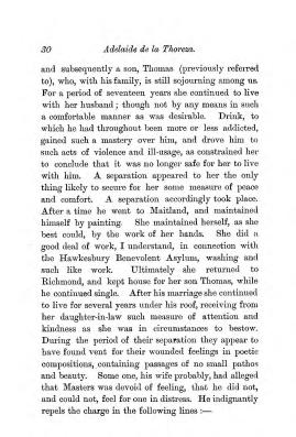 """Chapter III: Life in the Colony,"" James Cameron's biography on Parramatta Female Factory convict Adelaide de la Thoreza, p. 30"