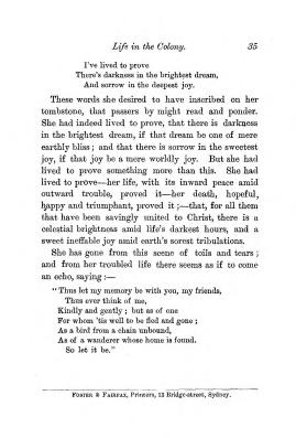 """Chapter III: Life in the Colony,"" James Cameron's biography on Parramatta Female Factory convict Adelaide de la Thoreza, p. 35"