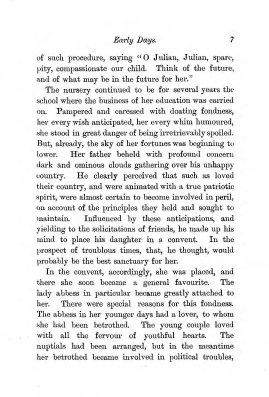 """Chapter I: Early Days,"" James Cameron's biography on Parramatta Female Factory convict Adelaide de la Thoreza, p. 7"