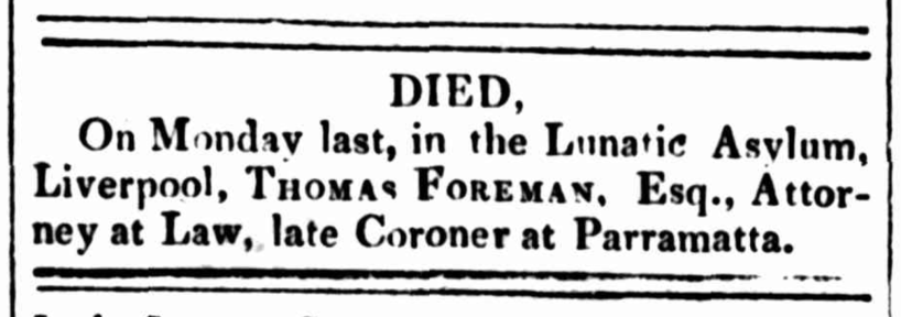 "Thomas Freeman, Esq., Death Notice. ""Family Notices,"" Sydney Gazette and New South Wales Advertiser (NSW: 1803 – 1842), Saturday 5 November 1831, p. 3. Courtesy of Trove."