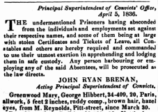 1836-04-06 - Mary Ann Greenwood Absconds - Government Gazette, 6 Apr 1836