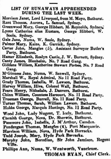 Mary Ann Greenwood Apprehended 1836, Parramatta Female Factory, Female Factory Online, convict, newspaper