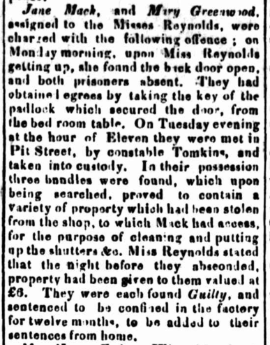 Mary Ann Greenwood and Jane Mack, 1837, convict women, Parramatta Female Factory, Female Factory Online, newspaper