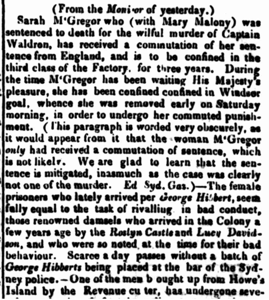 George Hibbert (1834) convict ship, convicts, convict women, Parramatta Female Factory, Female Factory Online, nineteenth century, newspaper, New South Wales, Sydney
