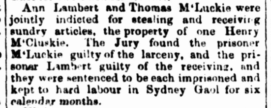 Ann Lambert per Roslin Castle (2) (1830) and Thomas McLuckie, trial, newspaper clipping, Sydney Quarter Sessions, 1850