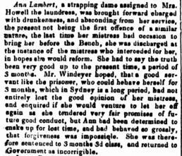 ANN LAMBERT per Roslin Castle (2) (1830) Law Report, Police Report, Sydney Gazette, 1833, Newspaper Clipping, Police Incident, Convict, Female Convict, Convict Woman, Nineteenth Century Australia, New South Wales, Sydney