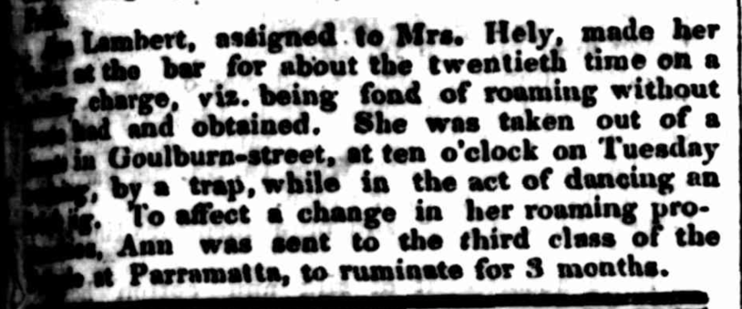 Irish convict ANN LAMBERT per Roslin Castle (2) (1830) Law Report, Police Incident, Newspaper, New South Wales, Australia, nineteenth century