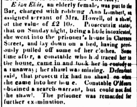 Law Report of ELIZA ELLIS and ANN LAMBERT, convict women, Sydney, New South Wales, Australia, nineteenth century, Parramatta Female Factory