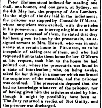 PETER HOLMES and ANN LAMBERT Law Report, Sydney, New South Wales, Newspaper, Nineteenth Century, Convicts