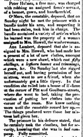 Law Report ANN LAMBERT, Irish convict per Roslin Castle (2) (1830) and PETER HOLMES, Newspaper, Sydney Herald, nineteenth century, Australia, New South Wales, Sydney