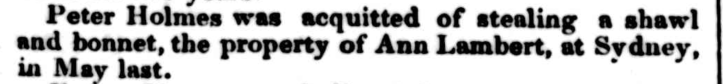 PETER HOLMES and ANN LAMBERT, The Australian, Law Report, Sydney, New South Wales, Australia, nineteenth century, convicts