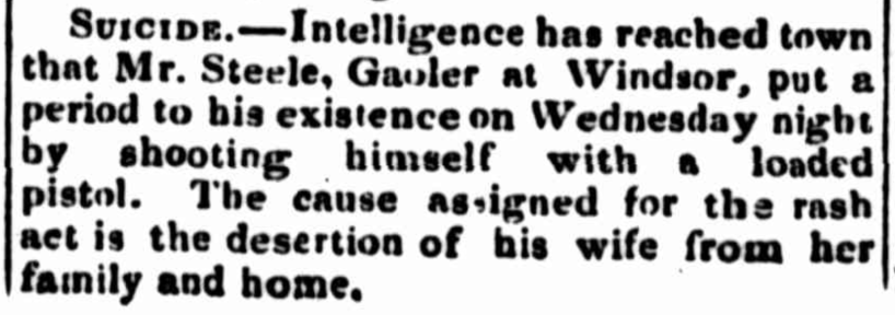 Newspaper report of Windsor Gaoler, George Steele's suicide in January 1839. Sydney Monitor and Commercial Advertiser. News of the Day. Female Factory Online. Irish Unassisted Immigrant.