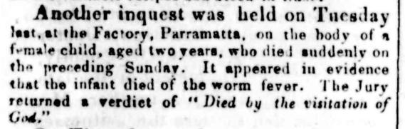 Coroner's Inquest, Elizabeth Flood, Sydney Gazette, 30 June 1832, p. 3