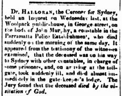 John Murphy, Convict Constable, Parramatta Female Factory, Female Factory Online, convict, Coronial Inquest Report