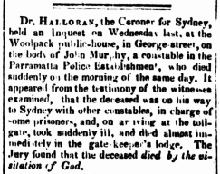 John Murphy, Convict Constable, Parramatta Female Factory, Female Factory Online, convict, Coronial Inquest Report