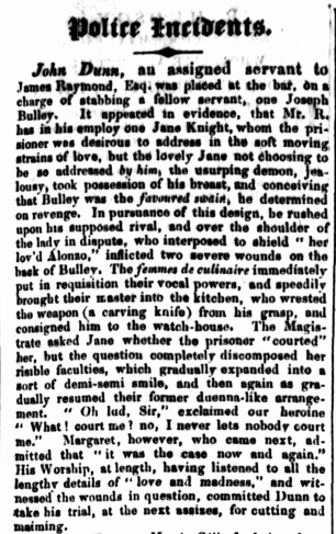 JANE KNIGHT, convict, Parramatta Female Factory, newspaper, Police Reports, Police Incidents, Female Factory Online
