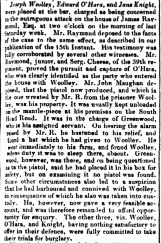 Law Report of JANE KNIGHT, convict, Parramatta Female Factory, Female Factory Online, Parramatta, crime history
