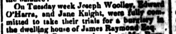 Law Report of JANE KNIGHT, convict woman, Parramatta Female Factory, Female Factory Online, Parramatta, crime history, newspaper