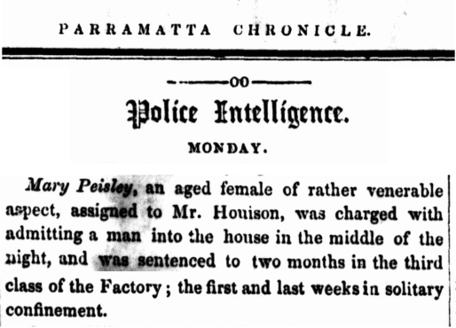 Law Report Convict Mary Parsley (aka Mary Peisley) per Planter (2) (1839), Parramatta Female Factory, Female Factory Online, Old Parramattan, nineteenth century, crime history, convicts