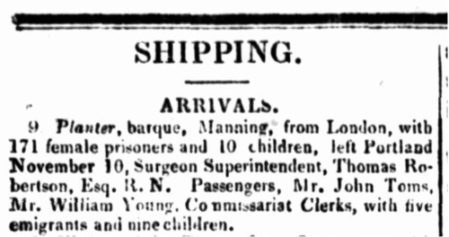 """""""SHIPPING. Arrivals,"""" The Sydney Standard and Colonial Advocate (NSW : 1839),Monday 11 March 1839, p. 2."""