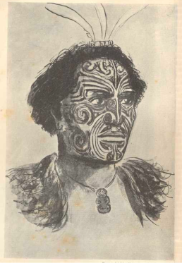 Hongi Hika (1772–1828), Maori chief and war leader of the Ngāpuhi iwi in New Zealand, from a sketch by Major-General G. Robley, after the portrait painted in England in 1820. S. Percy Smith, Māori Wars of the Nineteenth Century: The Struggle of the Northern Against the Southern Tribes prior to the Colonisation of New Zealand in 1840, (Christchurch, Wellington and Dunedin, N.Z; Melbourne and London: Whitcombe & Tombs Limited, 1910). (CC-BY-SA 3.0 NZ). Courtesy of Victoria University Library, Wellington.