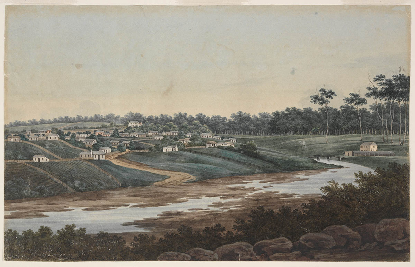 A view of Port Jackson, New South Wales, Parramatta, Factory Above the Gaol, Parramatta Gaol, Parramatta Female Factory, St. John's Cemetery Project, Old Parramattans, D'Arcy Wentworth, George William Evans